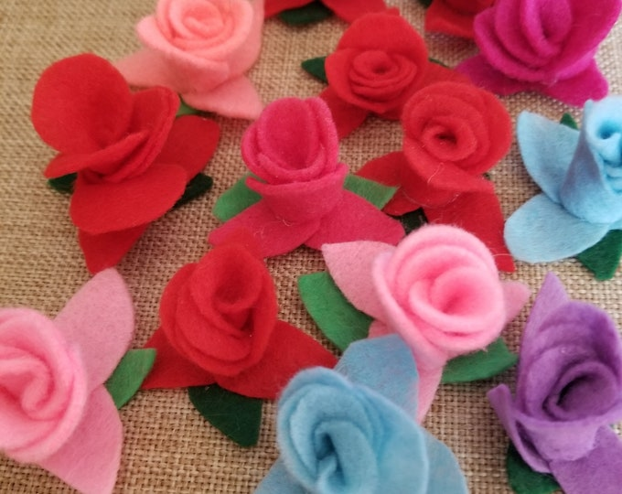 Summer Clearance 14 Asstd Felt Rose Flowers, Felt Cake Flowers, Felt Bouquet Flowers