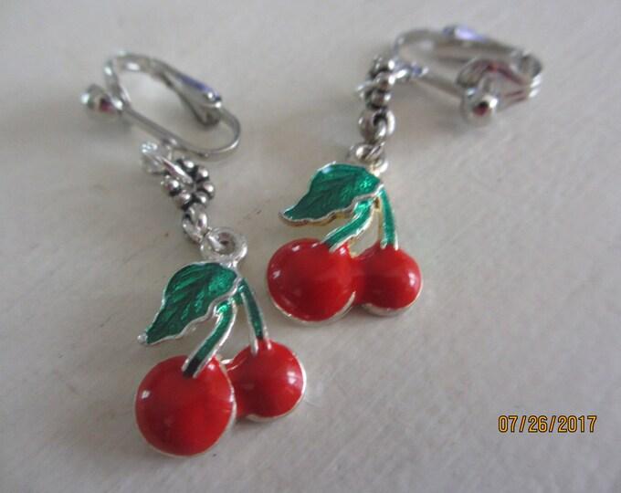 New Clip On Red Enamel Cherry Earrings, Red Cherry Earrings