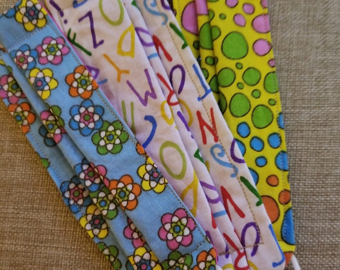 New 3 Asstd Handmade Small Children's Face Masks Lot, Back to School Face Masks, Teachers Face Masks School Supplies,