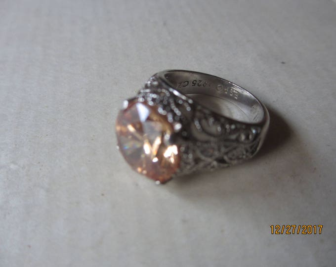 Stunning Vintage Sterling .925 CZ Signed ESPO Jubilee Ring, Vintage Champagne Cubic Zirconia Ring, Sterling silver Vintage Ring, Maid Honor