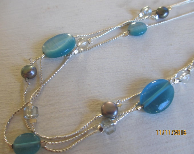 Double Strand Necklace with Blue Glass Gem Accent Necklace,Something Borrowed Something Blue Bridal Necklace