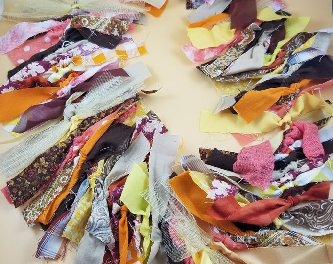 New Rustic Fall Fabric Garland, Colorful Rustic Fall Wedding  Garland, 5 Ft Rustic Fall Shower Garland, Bridal Shower Flower Garland