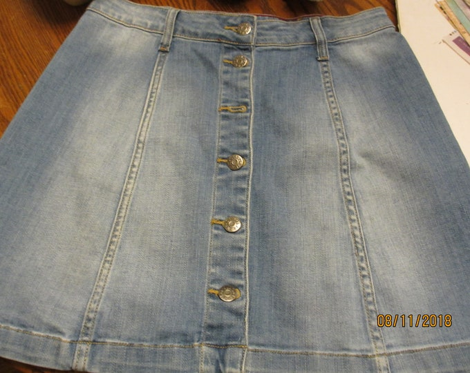 Womens Consignment Denim Flare Skirt, Denim Skirt, Denim Button Down Skirt, Like New Womens Denim Skirt
