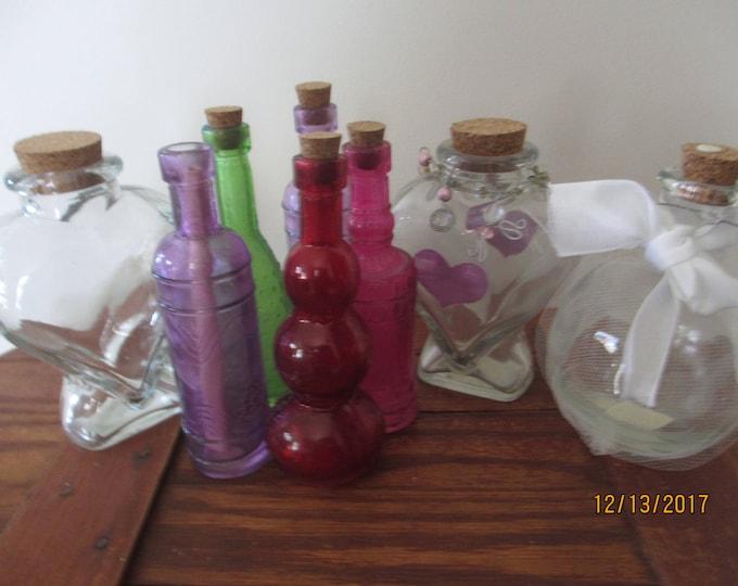 7 Asstd Beach Bottles, Beach Wedding Bottlee, Summer Glass Shower Favors, Message in a Bottle Favors