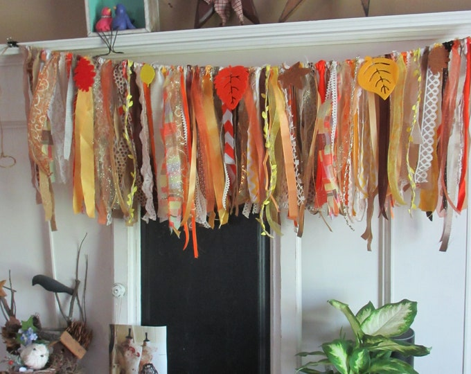 New Handmade Rustic Fall Banner Garland, Fall Rustic Style Shower Flower Garland, Fall Backdrop Garland, Rustic Fall Wedding Garland