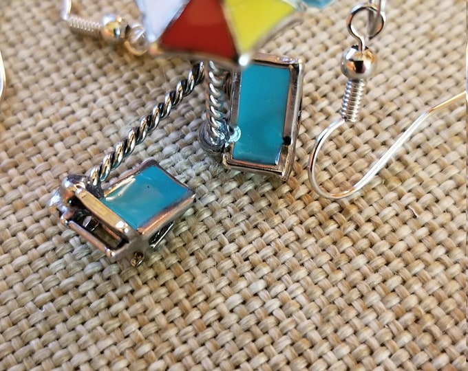 New Handmade Beachchair Charm Earrings, Dangle Beach Chair Beach Umbrella Charm Earrings,Summer Beach Charm Earrings,Summer Vacation Earring