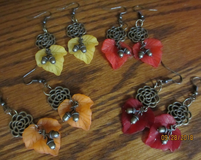 Colorful Fall Yellow Leaf Charm Earrings, New Cute Fall Yellow Leaf Earrings, Fall acorn Earrings, Fall Jewelry