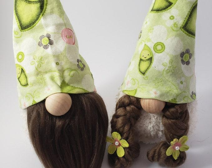 New Handmade Super Cute Sweet Pea Love Gnome Couple, Gnome Couple, Sweet Pea Fabric Gnomes, Wedding Gnome Gift