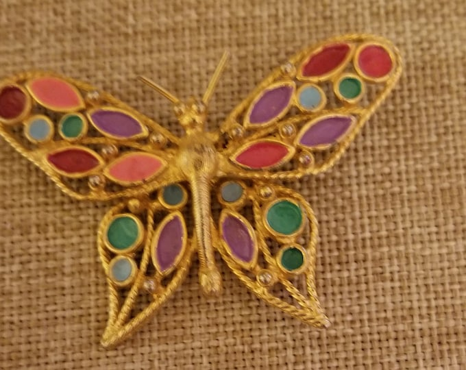 Unique Beautiful Colorful Enamel Vintage  Butterfly Pin, Grandmother Pin, Gardeners Pin Bride Gift,Grandma Gift