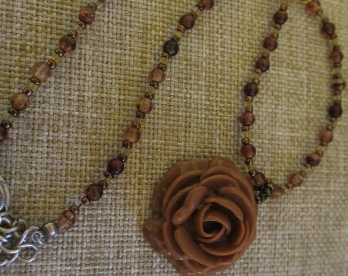 Unique Handmade Vintage Clay Brown Rose Beaded Necklace, Something Old gift, Mom Gift,Choker Rose Flower Girl Necklace, Summer Beach Jewelry