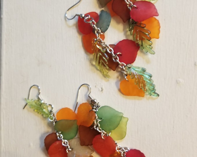 Colorful Dangle Fall Orange Leaf Charm Earrings,  Fall Charm Earrings, Fall Bridal Earrings, Fall Wedding Gift, Fall Jewelry, Teachers Gift