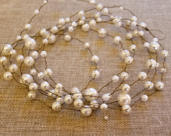Handmade Rustic  Pearl Wire Garland, Rustic Wedding Pearl Garland, Rustic Style Centerpiece Pearl Shower Garland,Country Chic Pearl Garland,