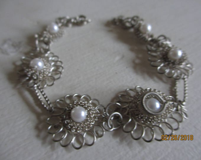 Pretty Vintage Silver Wire Bridal Bracelet, Vintage Bridal Bracelet, Bridal JEwelry, Something old Bridal Bracelet
