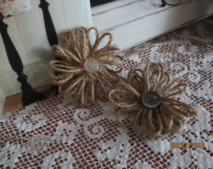 Burlap Loop Flowers, Rustic Burlap Corsage Flowers, Burlap Favor Flowers,Burlap Flower Shower Favors, Burlap Bouquet Flowers