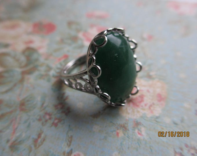 Beautiful Sterling Silver .925 Jade Gem Stone Ring, Vintage Style Sterling Silver Scroll Design Jade Ring,  Maid of Honor Gift