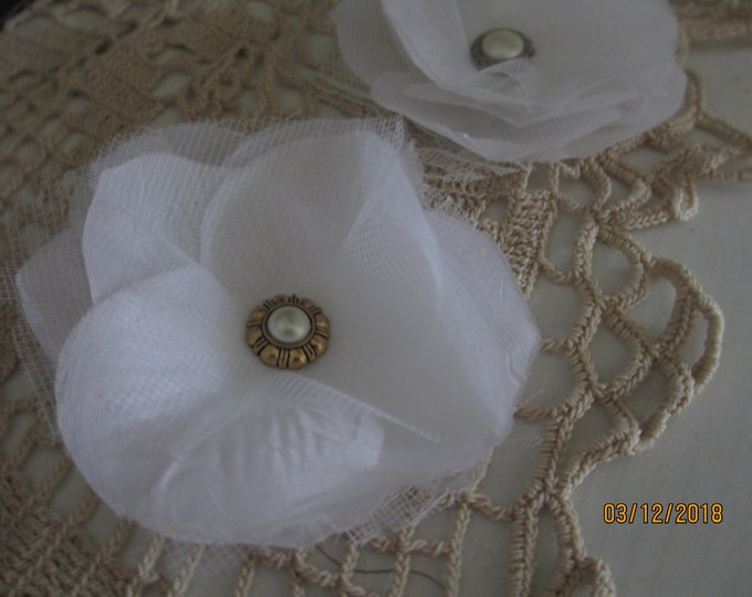 6 Asstd Handmade White Corsage Flower, Bridal Wedding Corsage Flowers, Bridal Barrett Flowers