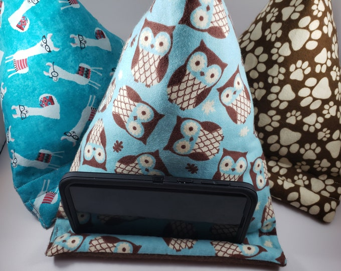 New Sale Llama Fabric Phone Pillow Stand, Kids Flannel Owl Fabric Phone Pillow, Paw Print Fabric iPad Pillow Stand , Student Phone Pillow
