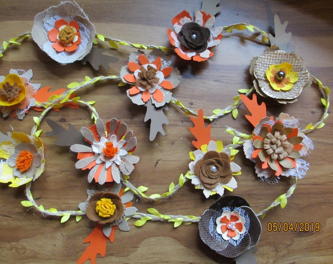 New Handmade Paper Felt Rustic Fall Flower Garland, Fall Rustic Style Shower Flower Garland,Fall Centerpiece Garland,Rustic  Wedding Garland