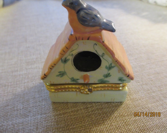 Vintage Ceramic Birdhouse Jewelry Box, Grandmother Gift, Mom Gift, Bird Lover Gift
