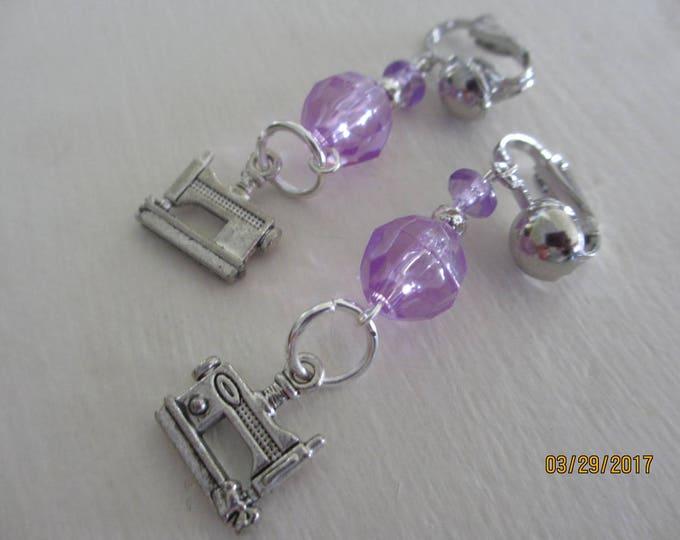 Very Cute Silver Tone w Purple Acrylic Beaded Sewing Machine Earrings, Purple Sewing Machine Earrings