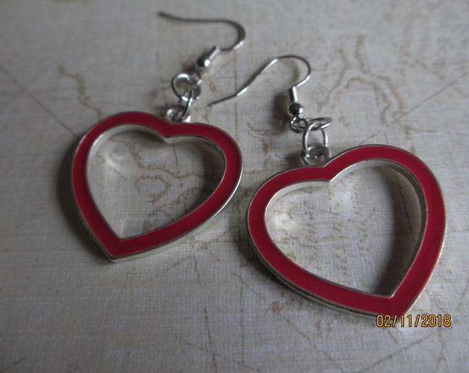 Vintage Red Enamel Heart Earrings, Heart Vintage Hoop Earrings, Red Heart Earrings