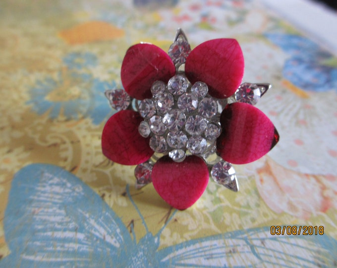 Pretty Colorful Pink Flower Statement Ring, Adjustable Pink Flower Ring