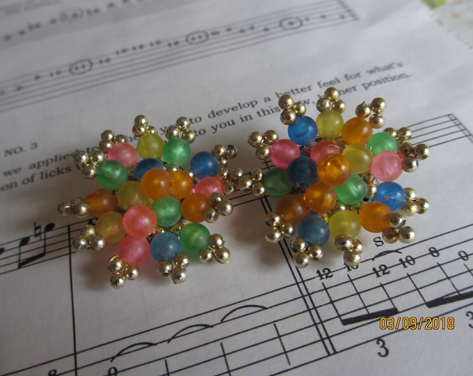 Sale Cute Vintage Beaded Cluster Earrings, Vintage Beaded Clip On Earrings, Flower Girl Earrings, Spring Beaded Earrings