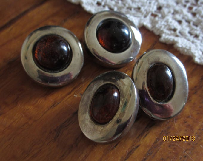 Beautiful Rare Vintage FLP Art Deco Earrings, Signed FLP Vintage Art Nuvou Earrings, Brown and Amber Glass Gem FLP Silver Earrings