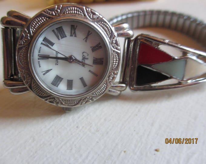 Beautiful Rare Vintage Colezio Pearl Face Watch, Colezio Enamel Watch, Vintage Southwest Style Watch