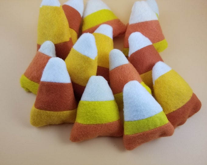 Sale New Asstd Stuffed Small Felt Candy Corn Decorations, Small Candy Corn Pincushion, Stuffed Candy Corn for Garland, Classroom Decorations