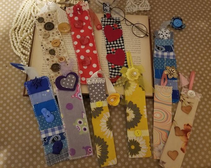 10 Asstd Decorative Childrens Fabric Bookmarks, Bookmarker Gifts, Back To School Kids Bookmarkers,Teachers Supplies, Teachers Bookmarks