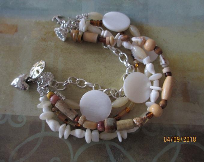Handmade Rustic Style Beach Bracelet, Multi Strand Sand Dollar Charm Bracelet, Shell Bracelet, Honeymoon Bracelet, Summer Bracelet