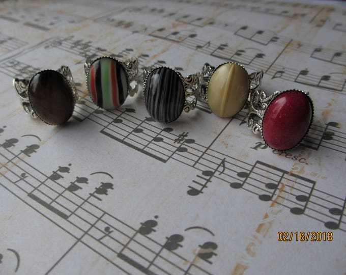 Beautiful SP Vintage Style Colorful Gold Tiger Eye Ring, Red Jasper Stone, Jasper Stone Ring, Antique Silver Scroll Design Rings