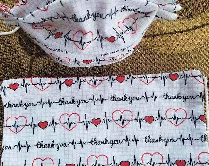New EKG Thank You Nurses Face Mask, EKG Thank You 100% Cotton Doctors Face Mask, Nurse Gift Face Mask, EKG Heart Fabric Mask