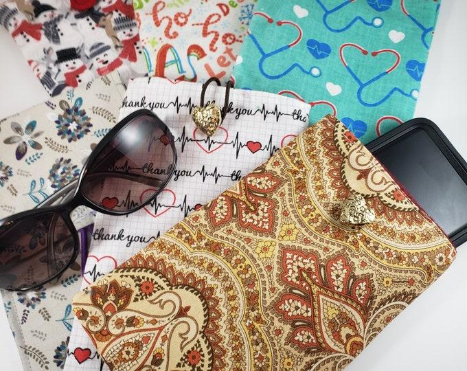 New Asstd Handmade EKG Fabric Cell Phone Cozy, Stethoscope Sunglass Cozy, Snowman Fabric Phone Cozy, Fabric Dear Santa Flannel Sunglass Cozy