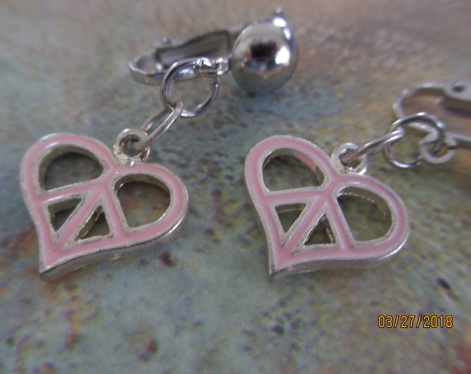 Pretty Pink Peace Sign Charm Earrings, Clip On Pink Peace Earrings