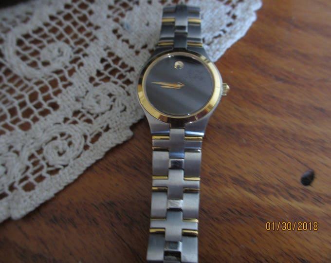 Sale Pretty Ladies Movado JURO Black Museum Dial, Juro Movado 2 tone Gold Watch