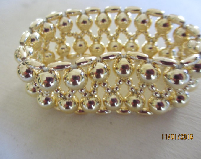 Handmade Beautiful Gold Stretch Cuff Style Bracelet, Gold Beaded Cuff Bracelet