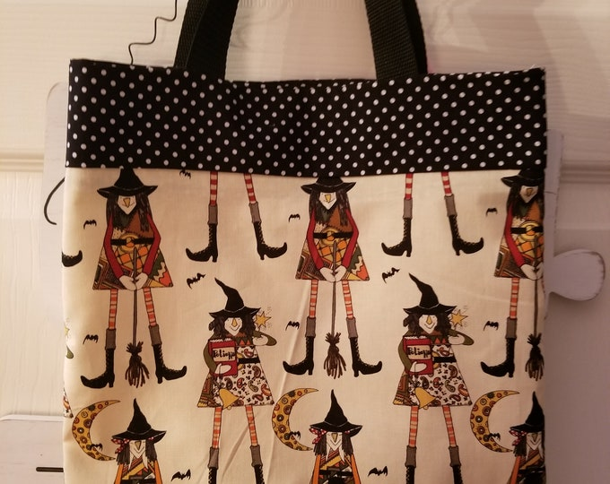 New Handmade Children's Trick or Treat Bag, Witches Hat Fabric Trick or Treat Tote, Back to School Book Tote Bag, Teachers Fall Tote Bag