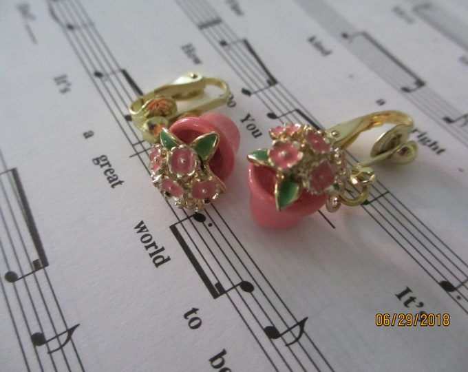 New Clip On Pink Flower Pot Earrings, Gardeners Gift, Flower Pot Charm, Grandmagift