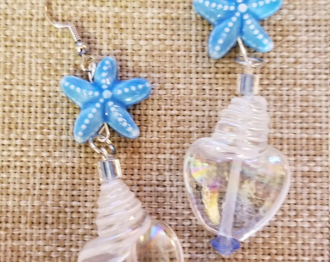 New Whimsical Fun Blue Starfish and Seashell Earrings, Summer Beach Earrings, Vacation Seashell Jewelry, Starfish Earrings