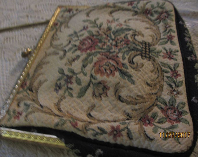 Stunning Rare Antique Handmade Cocktail Purse, Unique Antique Embroidered Cocktail Purse, Embroidered Purse