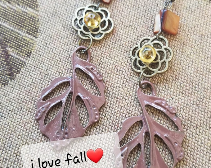 Fall Sale New Colorful Fall Leaf Charm Earrings, New Fall Leaf Earrings, Fall Jewelry