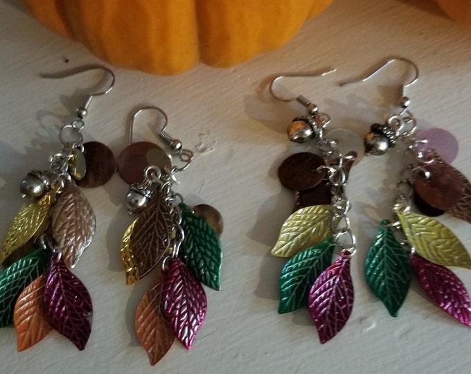 Fall Sale New Colorful Retro Style Dangle Fall Leaf Charm Earrings w Acorn Charm, New Retro Fall Leaf Earrings, Fall Jewelry