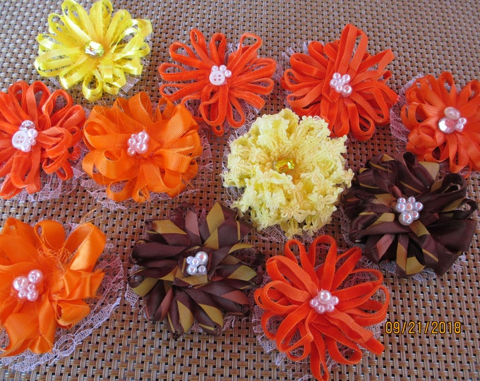 10 Asstd Handmade Rustic Fall Loop Flower Lot, Fall Corsage Flowers, Fall Favor Flowers, Fall Home Decor Flowers