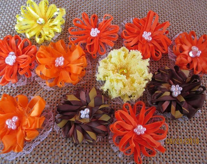 Asstd Handmade Rustic Fall Loop Flower Lot, Fall Corsage Flowers, Fall Favor Flowers, Fall Home Decor Flowers