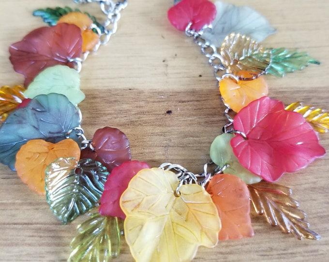 New Handmade Fall Leaf Charm Bracelet, Fall Acorn Charm Bracelet, Fall Bridal Bracelet