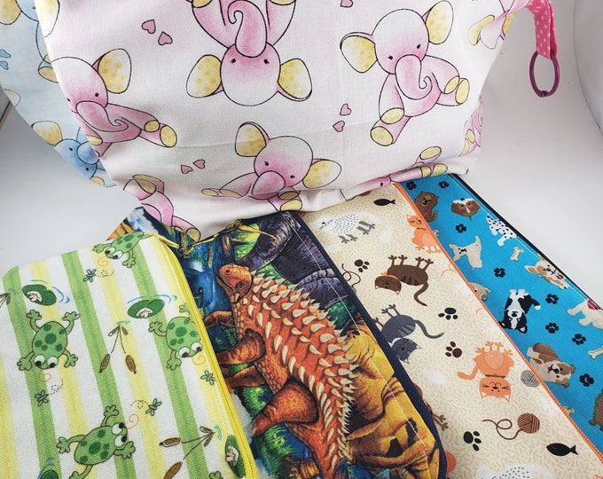 New Sale Asstd Box Zipper Pouches, Pink Elephant Fabric Pouch, Diaper Bag Pouch, Dog Walkers Pouch, Dinosaur Toy Storage Pouch, Frog Pouch,