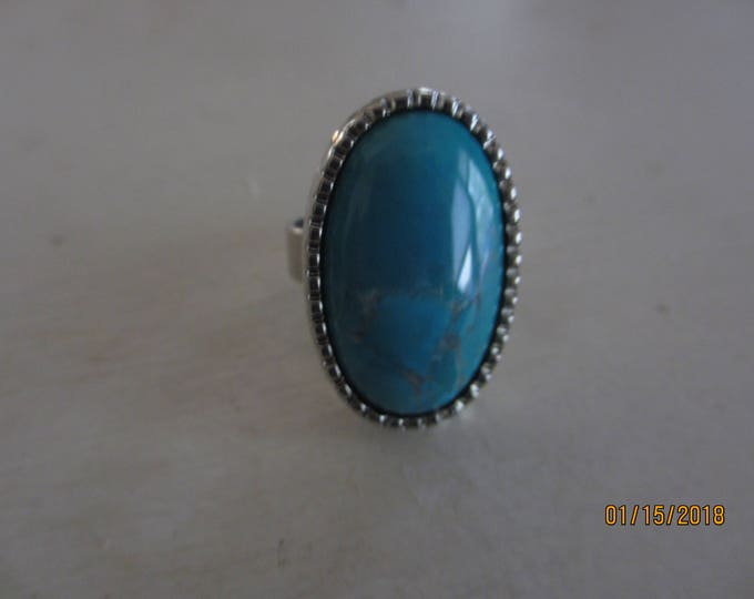 Beautiful Adjustable Genuine Turquoise Pendant Ring, Oval Silver Turquoise Ring, something Blue gift
