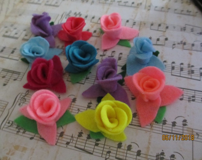 8 Asstd Small Felt Roses, Rose Felt Cake Flowers, Felt Rose Headband Flowers, Felt Bouquet Rose Flower Accents,